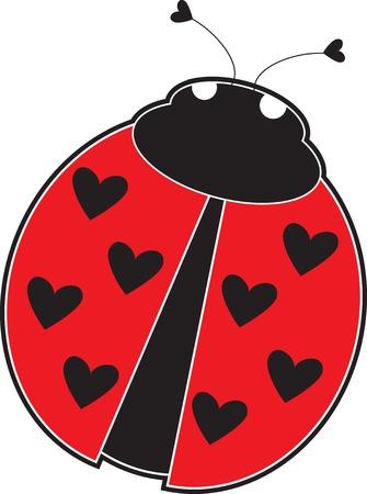 escarabajo: Una mariquita linda con el corazón, en lugar de puntos en la espalda de color rojo.