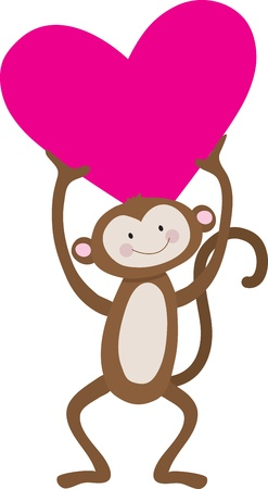 A cute, smiling monkey is holding a large pink heart above his head. Stok Fotoğraf