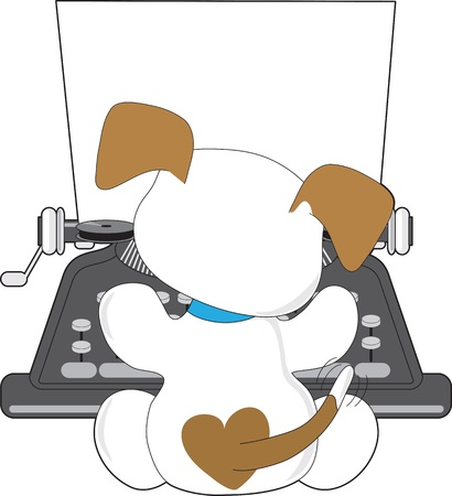 Een kleine puppy met een kwispelende staart, is bezig te typen op een oude stijl schrijfmachine.