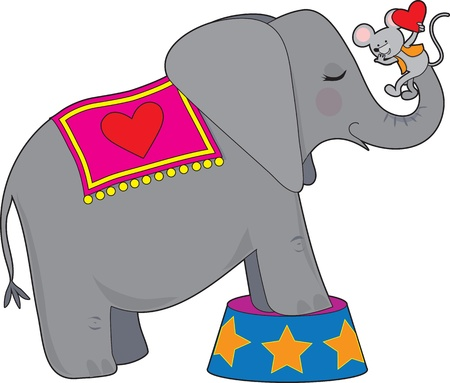 A circus elephant standing on a circus tub, has a mouse with a red heart on her trunk.