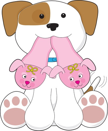 pampered pets: A cute smiling puppy is holding out a pair of pink slippers in its mouth. Stock Photo