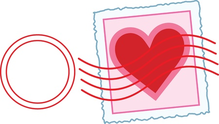 philately: Love Letter Stamp An image of a Valentine stamp, with a postal cancellation mark over the area of the stamp.
