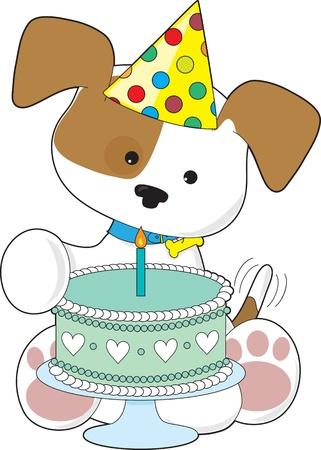 Torta de cumplea�os del perrito Un perrito lindo que llevaba un sombrero de fiesta Foto de archivo - 12501087