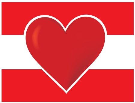An image of the Austrian flag with a big red heart at the centre. Stock Photo - 12501116