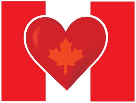 An image of the Canadian flag with a big red heart at the centre. A maple leaf is superimposed on the heart. Stock Photo - 12501110