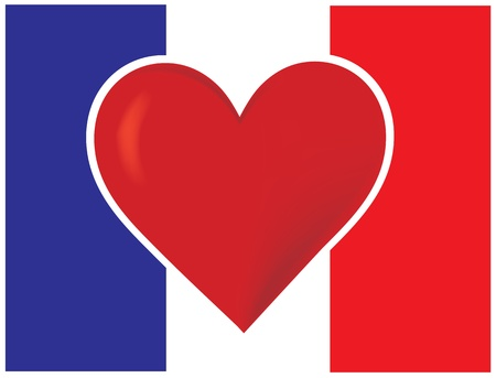 An image of the French flag with a big red heart at the centre. Stock Photo - 12501106