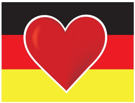 An image of the German flag with a big red heart at the centre. Stock Photo - 12501119