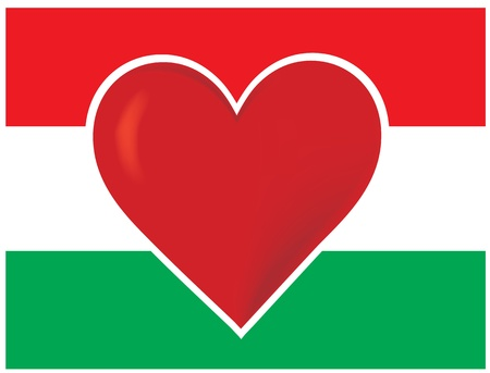 An image of the Hungarian flag, with a big red heart at the centre. Stock Photo - 12501113