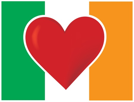 An image of the Irish flag, with a big red heart at the centre. photo