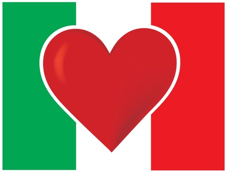 An image of the Italian flag, with a big red heart at the centre. Banco de Imagens - 12501101