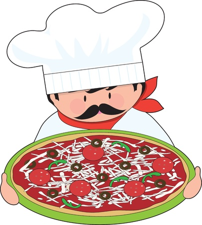 The chef is holding out his all dressed, fresh pizza  Stock Photo - 12501316