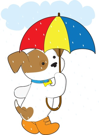 A cute puppy in the rain wearing rubber boots and carrying an umbrella  스톡 콘텐츠