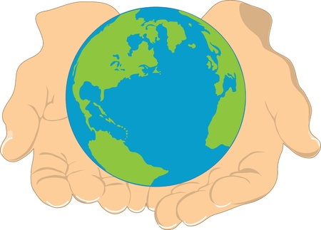 human being: An image of the earth, being held in the hands of a human being  Stock Photo