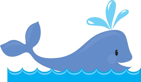 A simple design of a whale spouting, while swimming in the sea  Imagens