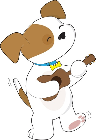 A cute puppy with tail wagging, is singing and dancing, while strumming a ukulele