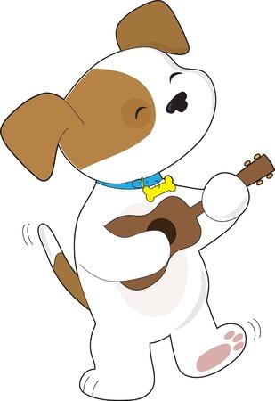 Un lindo perrito con la cola que menea, se cantan y bailan, mientras que tocando un ukelele Foto de archivo - 12808686
