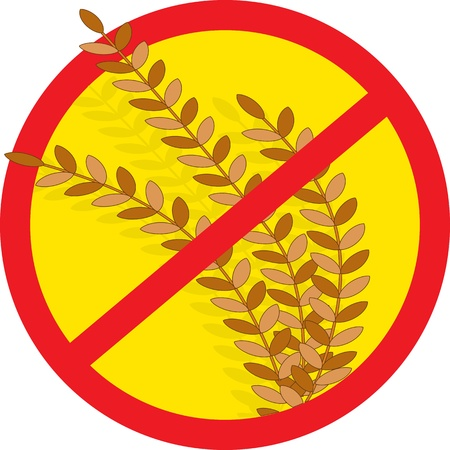 A red circle outline with a slash through it, is superimposed over stems of wheat, clearly indicating NO WHEAT  photo