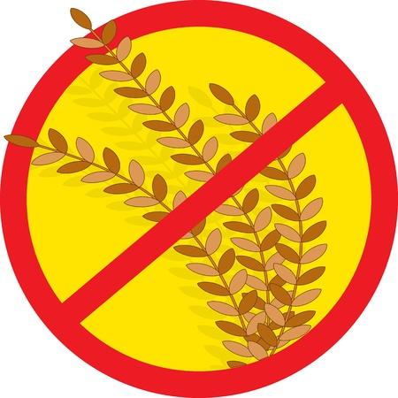 intolerancia: Un esquema de c�rculo rojo con una barra a trav�s de �l, se superpone a los tallos de trigo, indicando claramente sin trigo