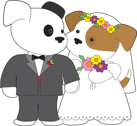 be dressed in: Two little puppies, one dressed in a tuxedo, the other in a wedding gown with flowers in her hair, are about to be married  Stock Photo