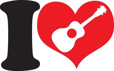 A big black I and a big red heart with a ukulele cutout, symbolizing that, I love ukulele  photo