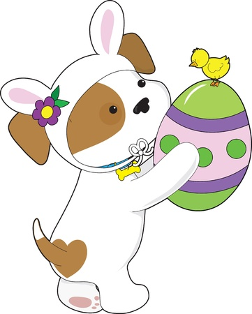 A cute puppy dressed in an Easter bunny suit, is holding a painted egg with a chick sitting on top  photo