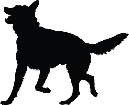 アクティブなポーズでのジャーマン ・ シェパード犬のシルエット画像