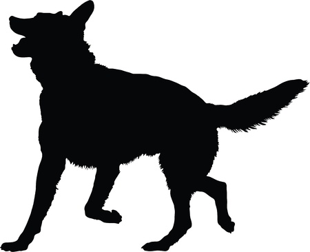 A silhouette image of a German Shepherd dog in an active pose