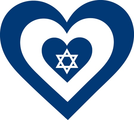 A concentric, heart shaped design, with national symbolism evocative of Israel