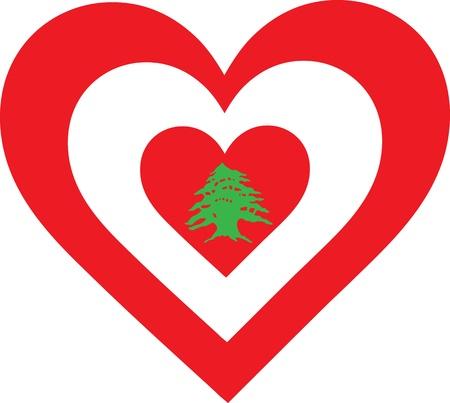 cedro: Un concéntricos, en forma de corazón diseño, con el sugestivo simbolismo nacional del Líbano Foto de archivo