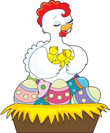 A happy hen holds her chicks with her wings, as she sits on the painted Easter eggs which fill her nest  Stock Photo