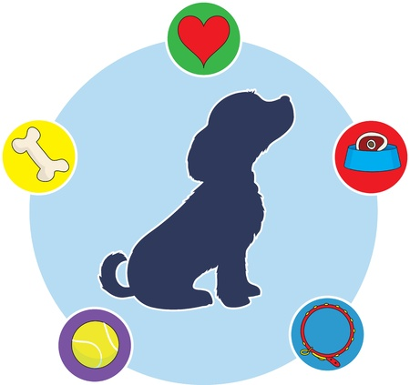 A silhouette of a puppy in profile on a circular background, with icons of puppy thoughts dotted around the circle  photo