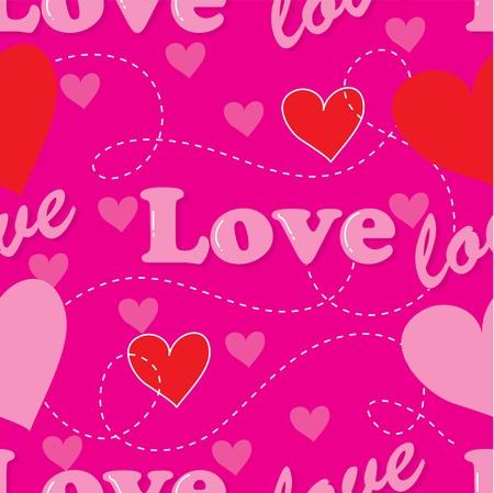 comprised: Un modello senza soluzione di continuit� composta da cuori rossi e la parola amore filettato insieme, su uno sfondo rosa Archivio Fotografico