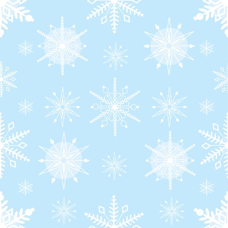 A seamless pattern comprised of stylized, white snowflakes, over a pale blue background  Imagens
