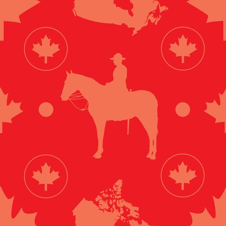 evocative: A seamless pattern comprised of images evocative of Canada, set on a red background  Stock Photo