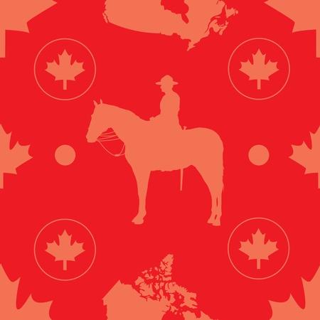 comprised: Un modello senza soluzione di continuit� composta da immagini evocative del Canada, situato su uno sfondo rosso