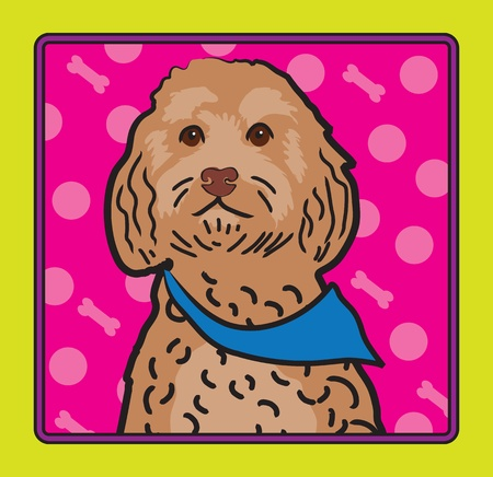 A cartoon image of an Cockapoo dog, created in the folk art tradition