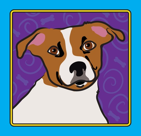 and tradition: A cartoon image of a Jack Russell Terrier, created in the folk art tradition