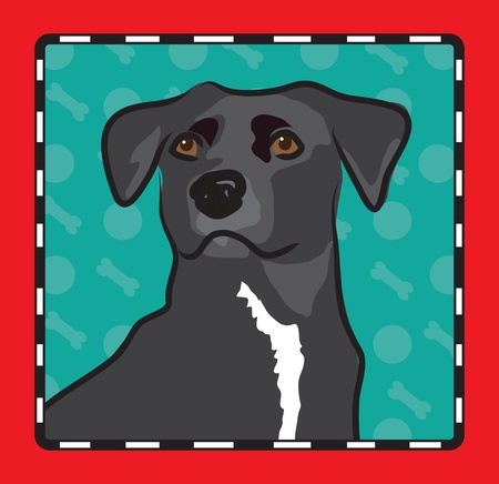 and tradition: A cartoon image of an mixed breed dog, created in the folk art tradition.