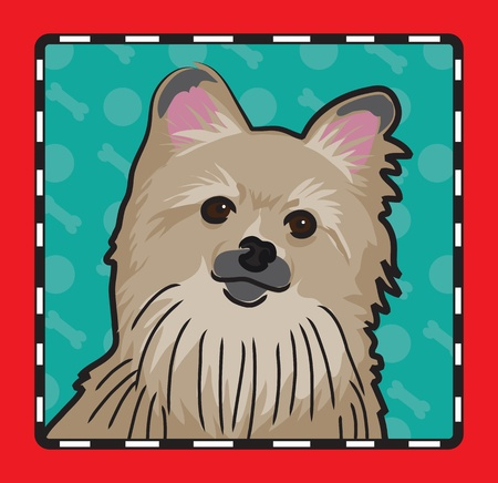 and tradition: A cartoon image of an Pomeranian dog, created in the folk art tradition.