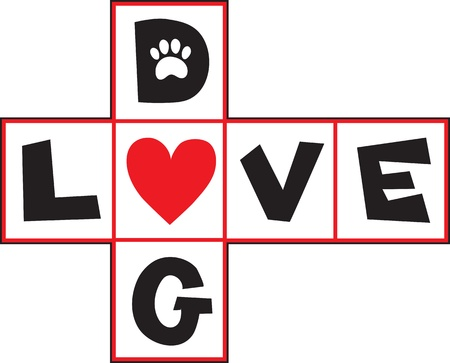 occupying: A design based on a hop-scotch layout, the squares having black letters spelling out  Dog Love , with a red heart occupying the central square
