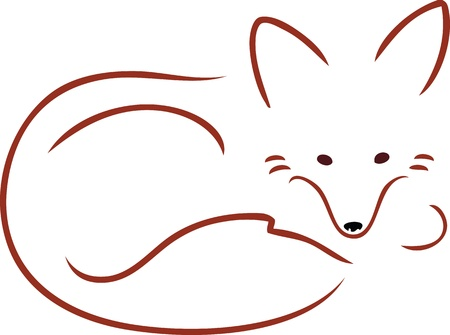 An outline image of a cute red fox curled up and resting