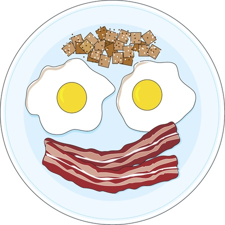 A bacon and eggs breakfast on a plate,  forming of a smiley face