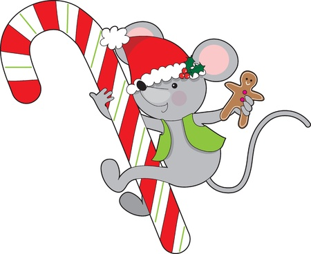 A childlike mouse wearing a vest and Santa hat while holding a gingerbread man cookie, is holding on to a huge Christmas candy cane  Imagens