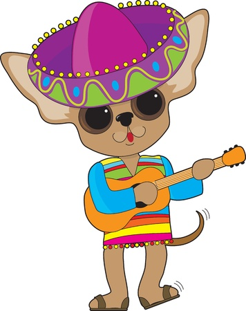 A happy Chihuahua with foot tapping and tail wagging, is playing the guitar while in show costume, complete with a large Mexican sombrero