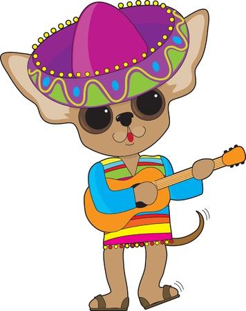 trajes mexicanos: Un Chihuahua feliz con golpecitos con el pie y moviendo la cola, toca la guitarra mientras que en traje de espect�culo, con un gran sombrero mexicano Foto de archivo