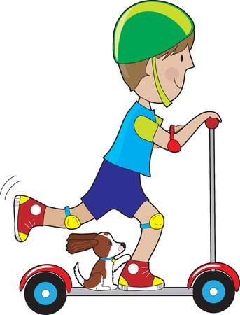 A boy rides his scooter with a pet dog beside his foot, with itÕs tail up and ears blowing in the wind. Ilustração