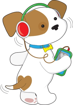 cute dog: A cute puppy with a wagging tail, wears headphones and moves to the tunes coming from a personal music player  Stock Photo