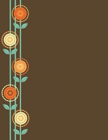 margine: Un disegno floreale stilizzato forma un bordo lungo il margine sinistro, su uno sfondo marrone chiaro. Archivio Fotografico