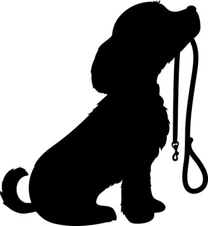 dog on leash: Una silueta de un perro negro sentado sosteniendo que s lo s correa en la boca, esperando pacientemente para ir a dar un paseo