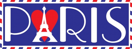 Designed in the style of a travel trunk sticker, with the bold letters  PARIS  in Parisian script  The Eiffel tower over a heart, makes up the  A  in Paris